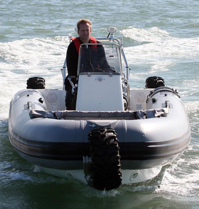 The distinctive three-wheel Sealegs