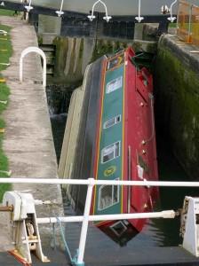 Sunken canal boat