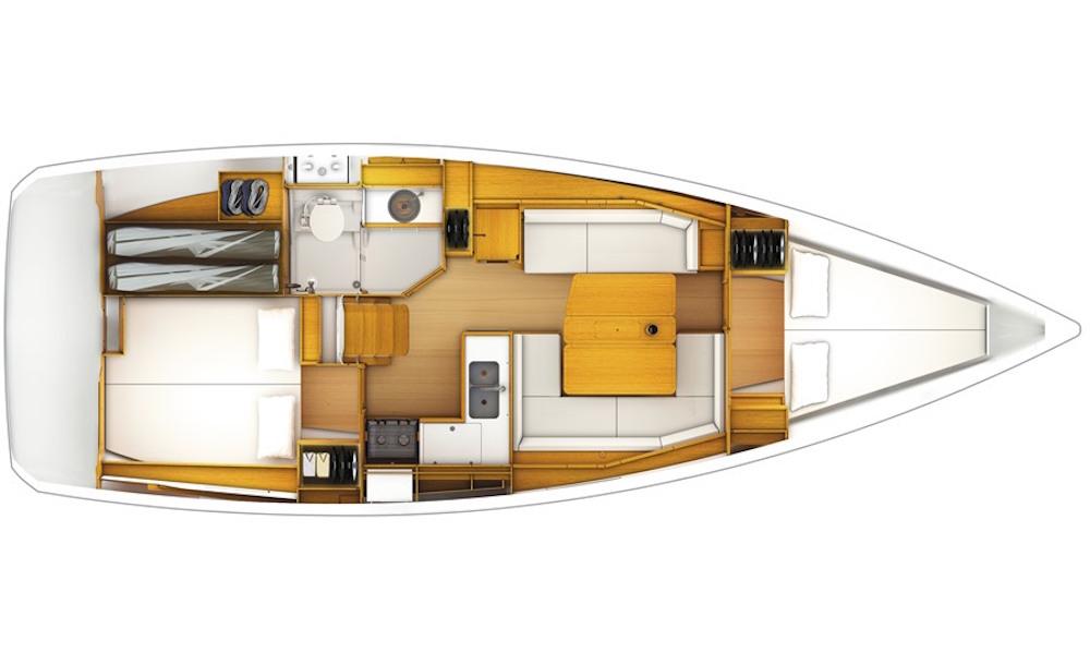 Jeanneau Sun Odyssey 389 interior layout