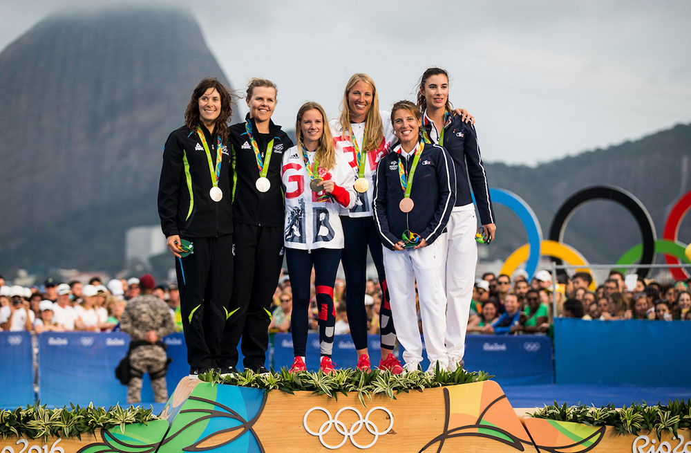 Hannah Mills Saskia Clark medal ceremony 2016 Rio Olympic Games: Sailing: Photo Sailing Energy/World Sailing.