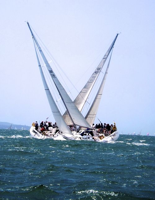Cowes Week photo competition: two yachts crossing