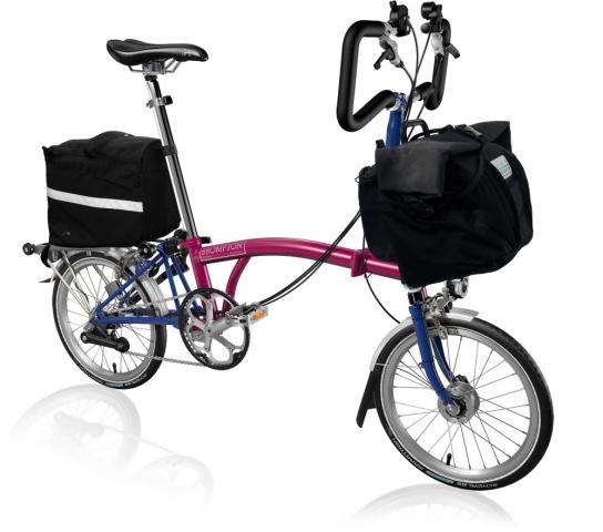 Brompton P6R fold-up bike.