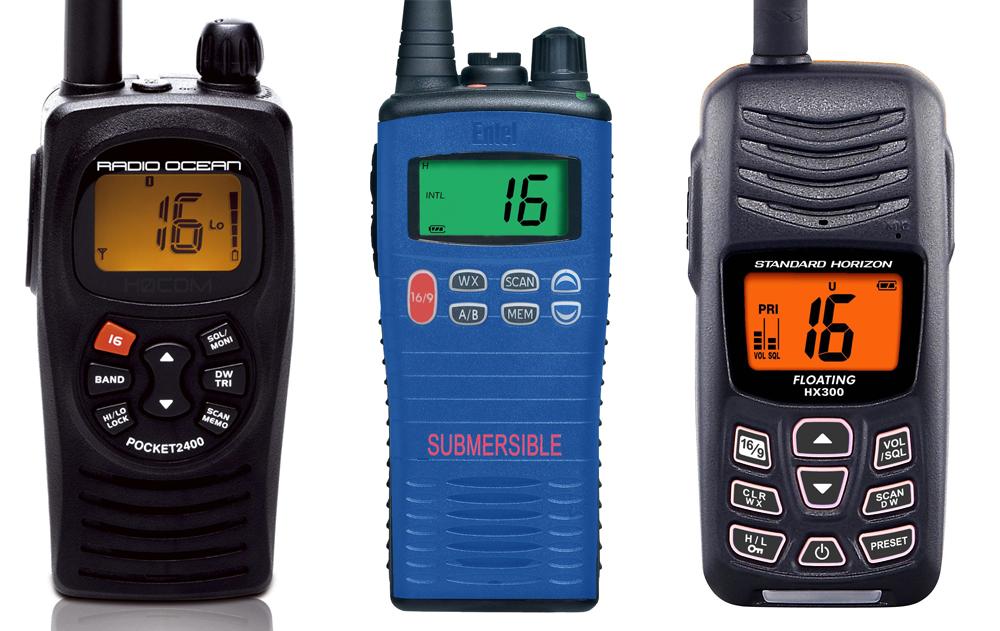 Handheld VHF The RA 2400 (2), the Entel HT20 (3) and the Standard Horizon HX300 (4).