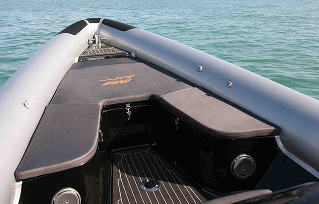 The fine bow of the Aquavite 888 is beautifully lined