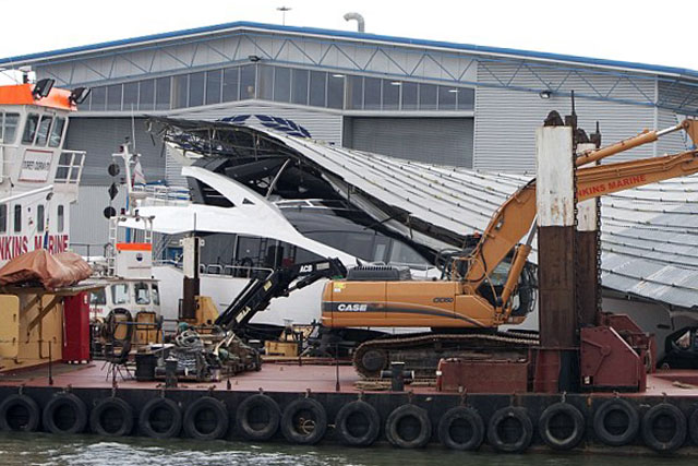 Sunseeker smashed in gale force winds