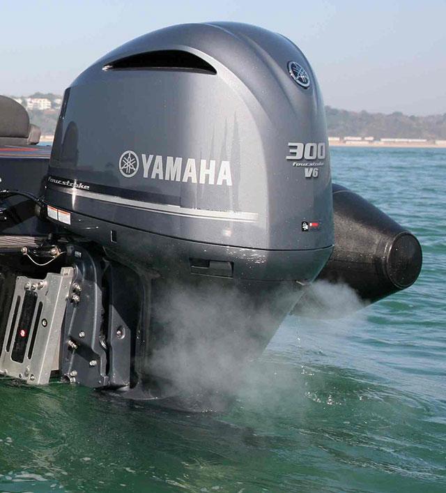 The Aquavite 888 engine is mounted on jackplates