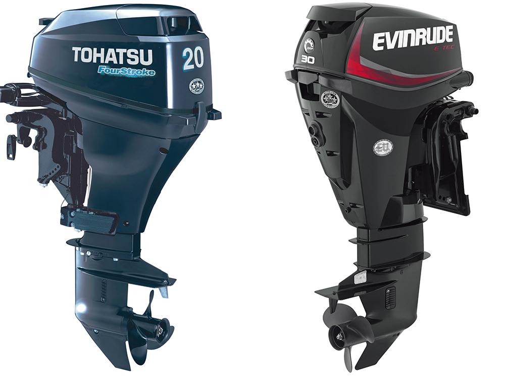 Outboard engines: Tohatsu MFS20 and Evinrude E-TEC 30