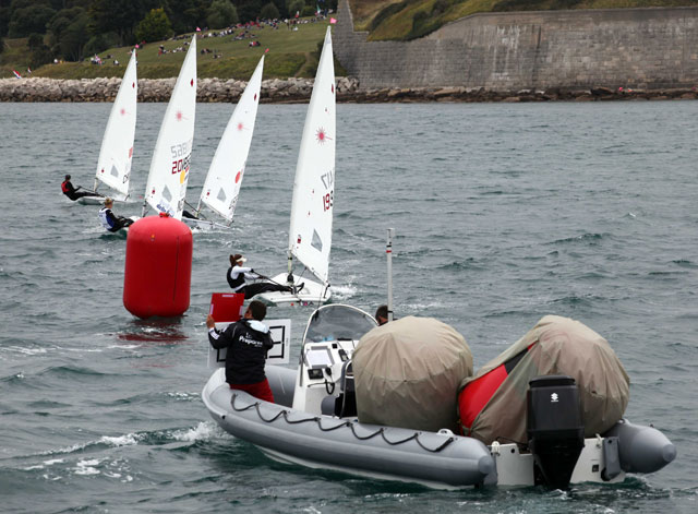 The Olympic RIBs in action - displaying boards, carrying and moving buoys and generall marshalling duties