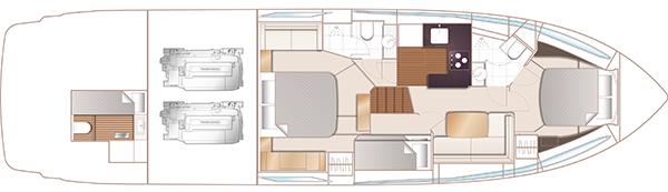 Princess V58 Open – Lower deck plan