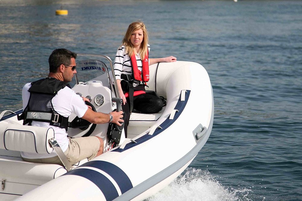 Test driving a powerboat