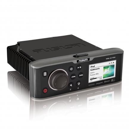 Fusion MS-AV750 onboard marine stereo unit.