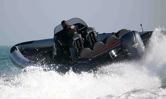 The Aquavite 888's hull digs hard in a turn.