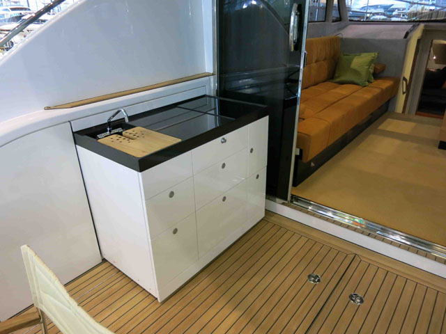 Slide out galley: Brioni 44 review