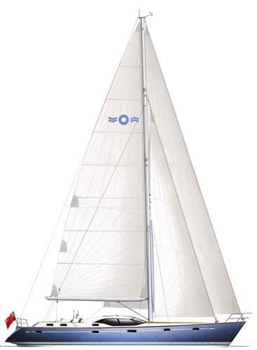 Oyster 56 sailplan: cutter rigged
