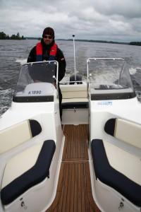 A twin console boat