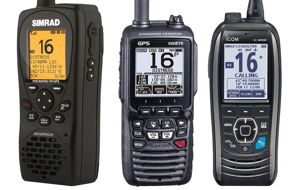 Handheld VHFs: Simrad HH36 9 Standard Horizon HX870 Icom IC-M93D