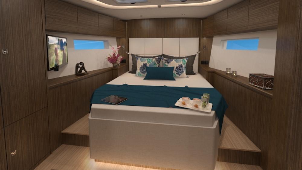 Bavaria C57 cabin walnut