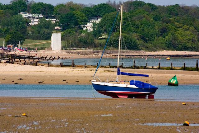 Bilge keeled boat dried out