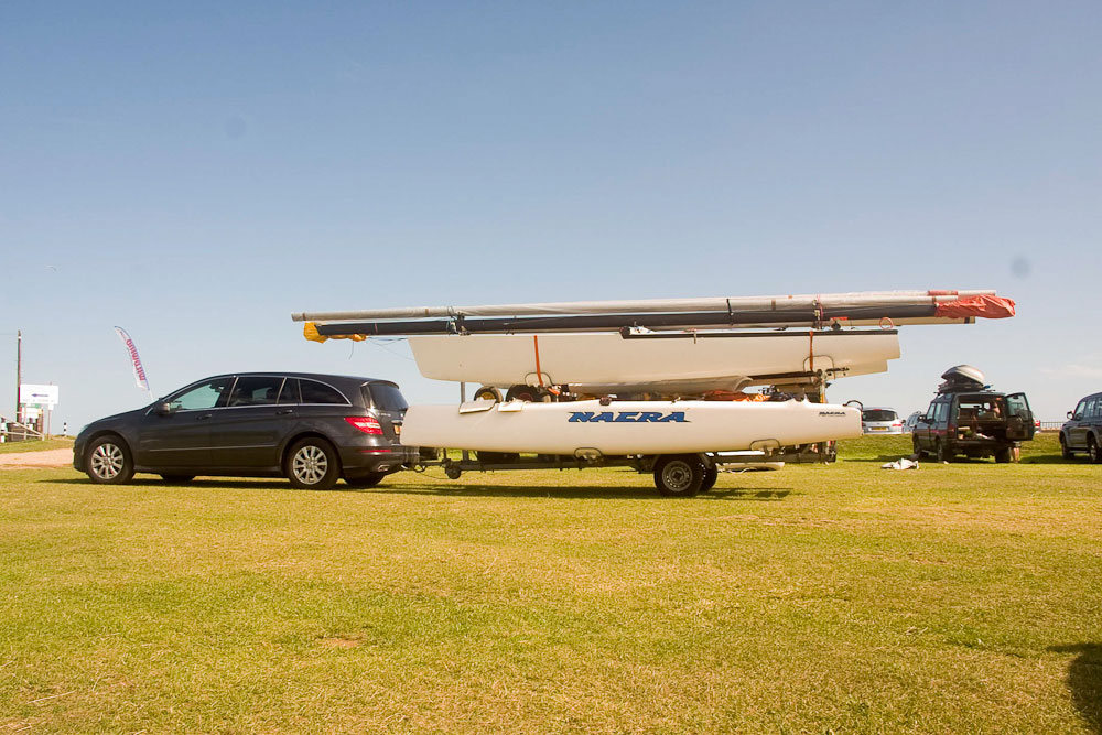 Safe boat towing: strapped down