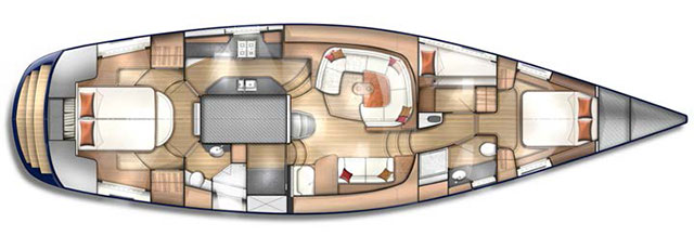 Discovery 57 layout below decks
