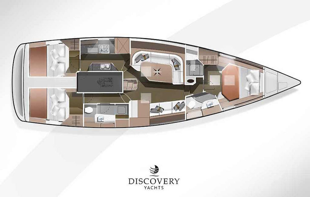 Discovery 48 Riviera twin-wheel layout
