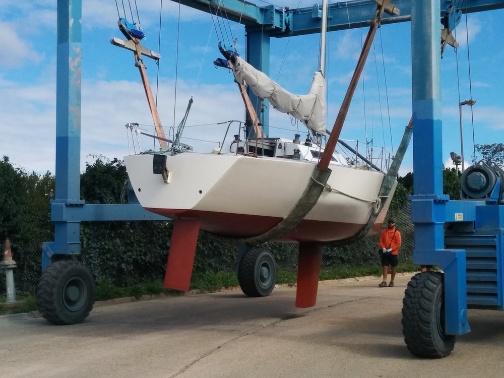 Hauling out a yacht for maintenance.