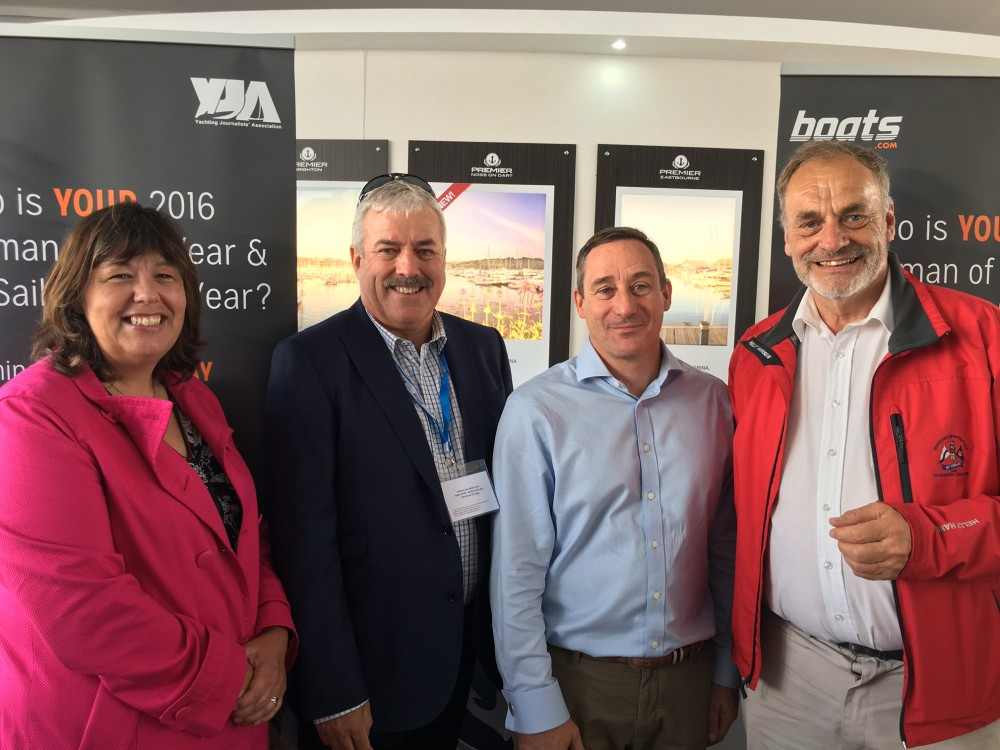 Tracey Clarke (Master of Ceremonies), Ian Atkins (President boats.com) , Pete Bradshaw (CEO Premier Marinas) & Barry Pickthall (YJA Chairman) gather at the 2016 reception hosted by Premier Marinas at the Southampton Boat Show attended by past Award winners, members of the Yachting Journalists' Association (YJA) and Team GB's Olympic medallists.