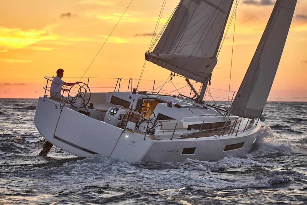 Jeanneau Sun Odyssey 440 under sail.
