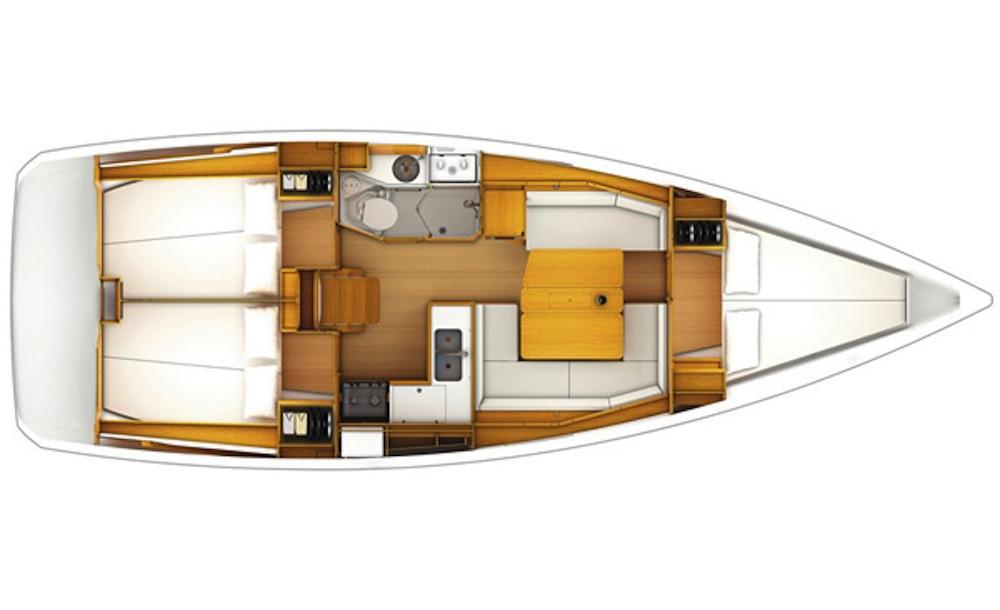 Jeanneau Sun Odyssey 389 – 3 cabin layout –  – new sailing yachts at London 2016