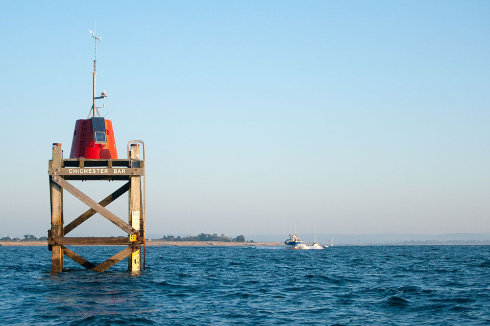 Shallow bar at harbour entrance