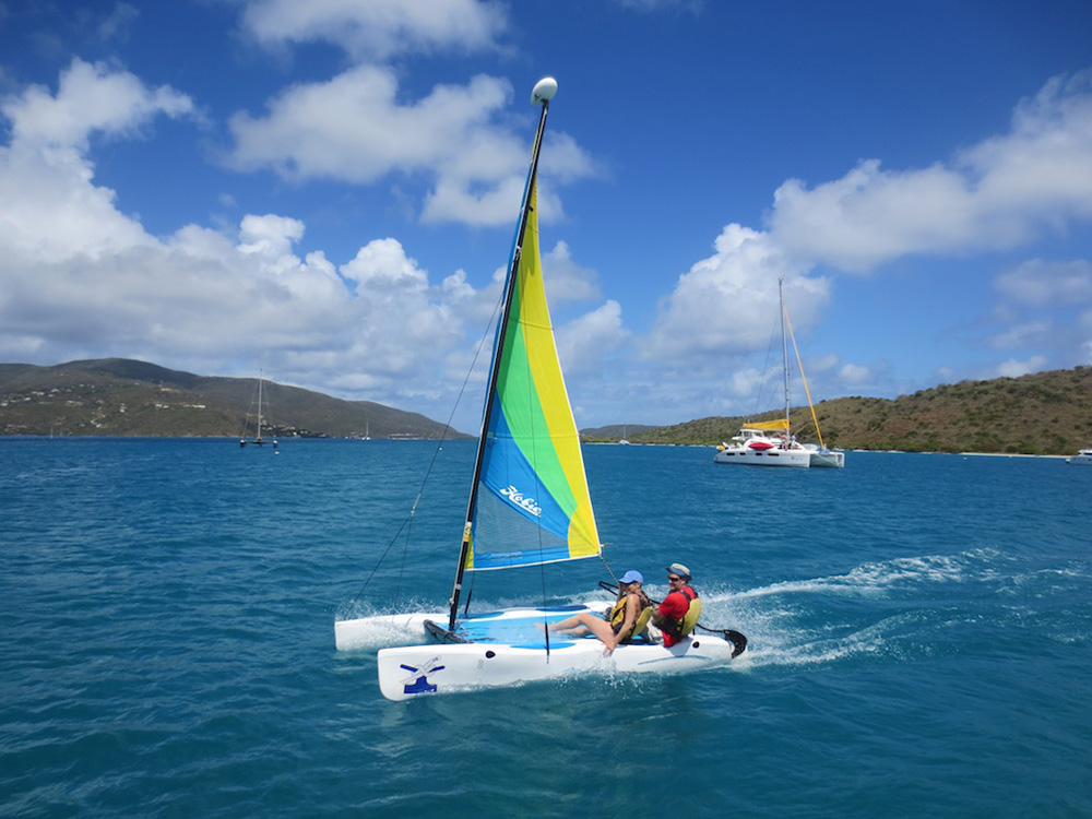 Hobie cat sailing at the British Virgin Islands' Bitter End Yacht Club
