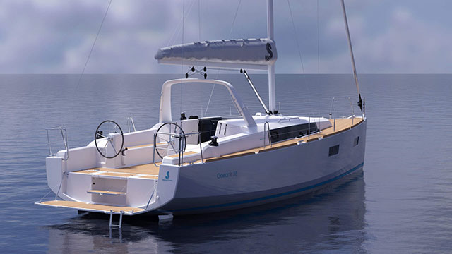 This rendering shows the Oceanis 38, which will debut at the PSP Southampton Boat Show.