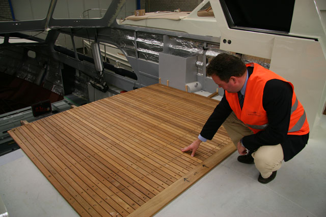 Teak decking being laid at the Linssen factory