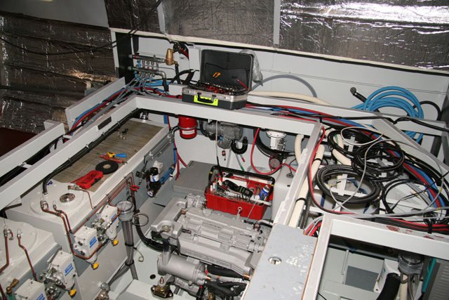 An engine room under construction - Linssen factory