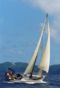 A Tradewind 35, one of 13 traditional long keeled production yachts of the type approved for the 2018 Golden Globe Race.