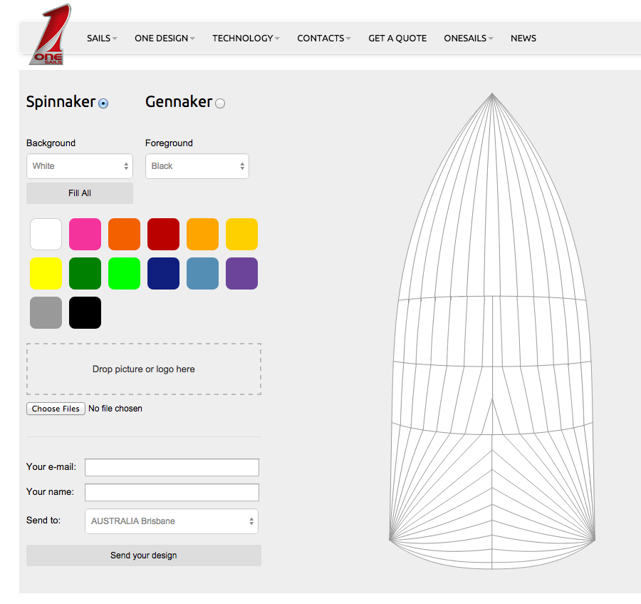 OneSails design your own spinnaker web page
