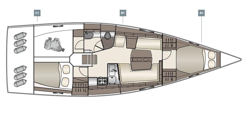 Dehler 42 review: standard layout plan