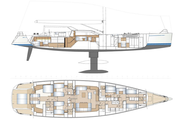 Nautor's Swan 105 - hull and deck plans