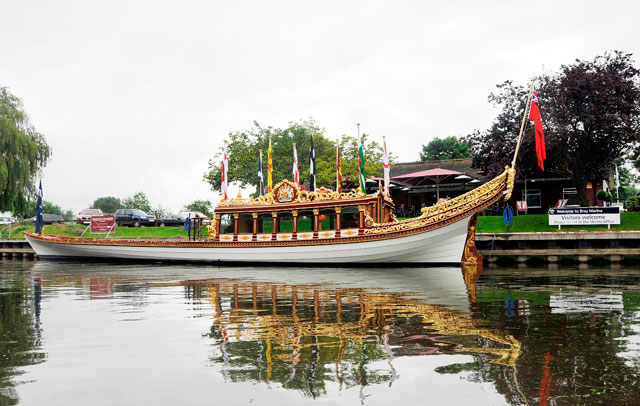 Royal Barge Gloriana visits Bray Marina