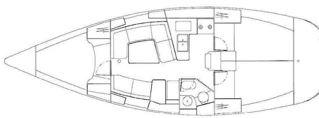Jeanneau Sun Odyssey 37: three-cabin layout