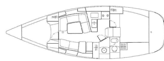 Jeanneau Sun Odyssey 37: two-cabin layout