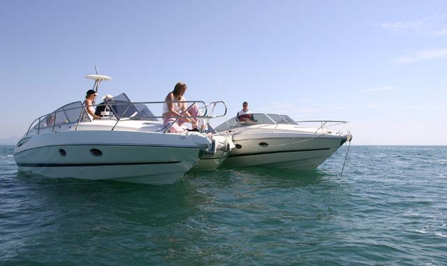 Group of powerboats at anchor