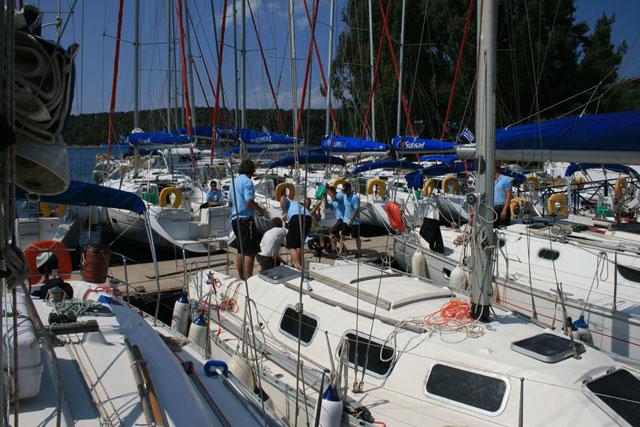Charter boats in a marina