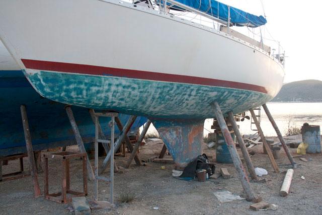 Hull of yacht