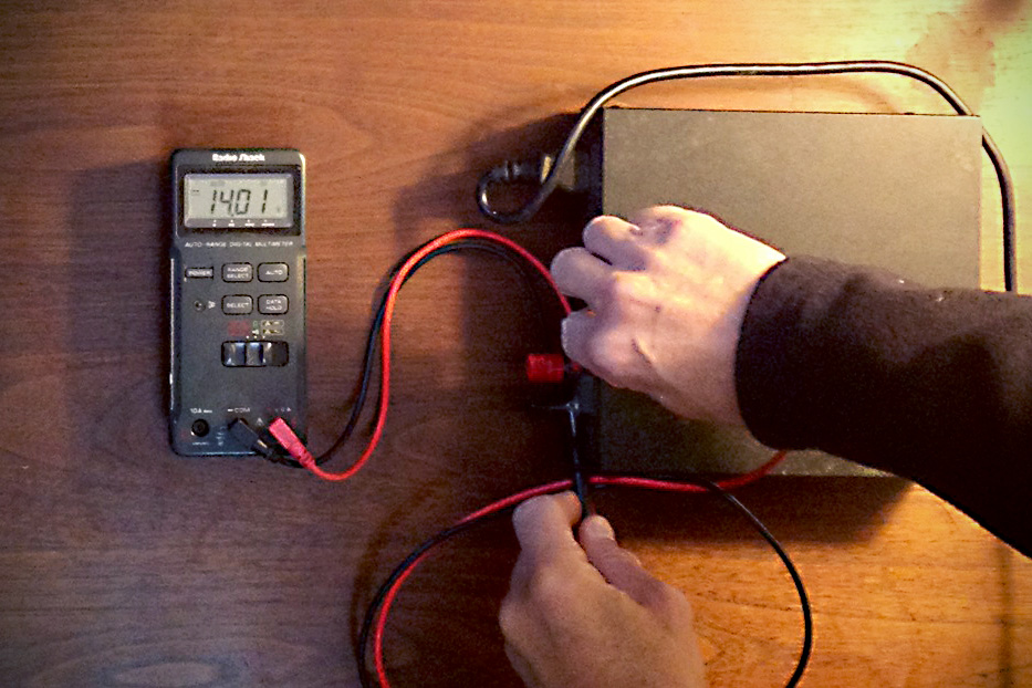 Figure 2: Power supply reads 14.01 volts