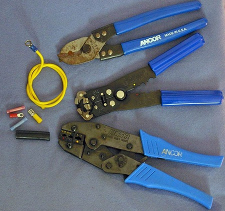 Tools required for stripping wire and crimping terminals