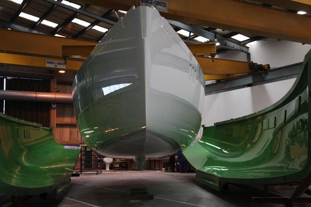 First Gunfleet 58 hull hits daylight