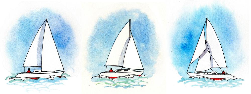 Types de gréement (à partir de la gauche): gréement de tête de mât bermudien, gréement fractionné bermudien, gréement de coupe bermudien. Remarquez la deuxième voile d'avant sur le bateau gréé par le cutter.