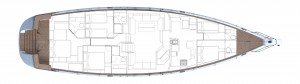 Plan of the interior of the Oyster 825