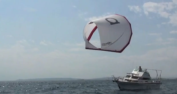 A cool kite sail for power boaters